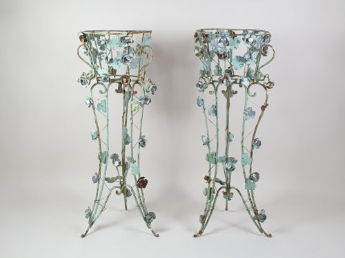 Pair of tall intricately designed  wrought iron Garden Planters with original turquoise paint