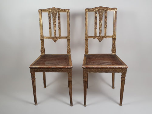 Pair of French early 1900s gilt caned Chairs