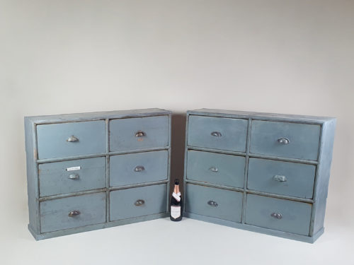 Unusual large pair of banks of drawers with original blue/grey paint